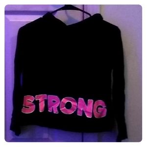 Girls justice crop top black and pink